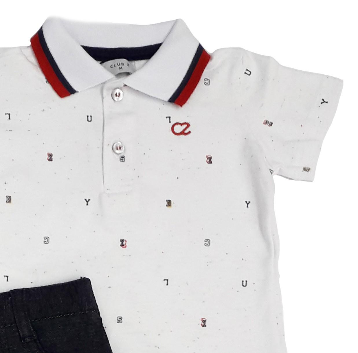 Conjunto Infantil Masculino Polo Branca e Calça Preta Club Z