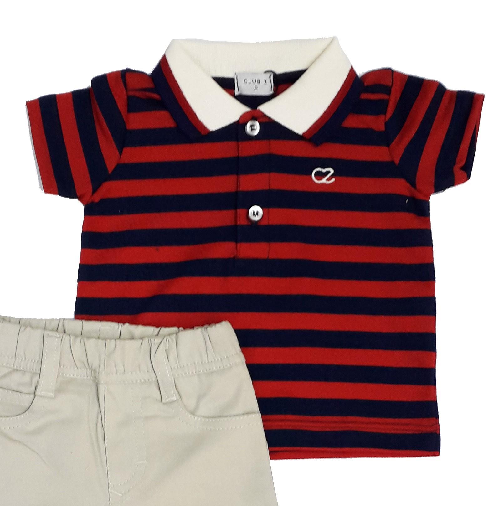 Conjunto Infantil Masculino Polo Listrada e Calça Club Z