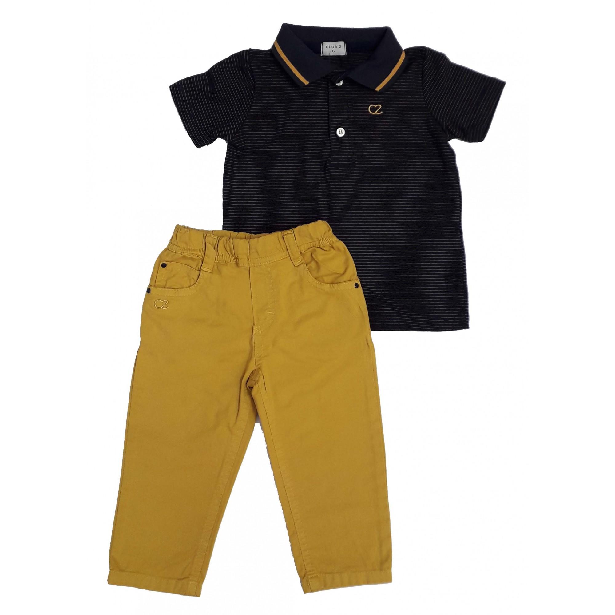 Conjunto Infantil Masculino Polo Listras e Calça Sarja Club Z