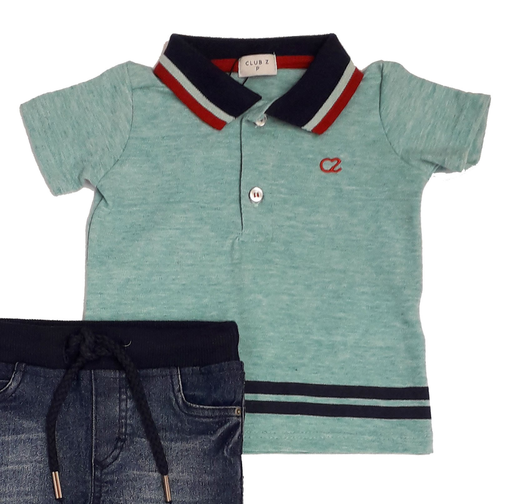 Conjunto Infantil Masculino Polo Verde e Calça Jeans Club Z