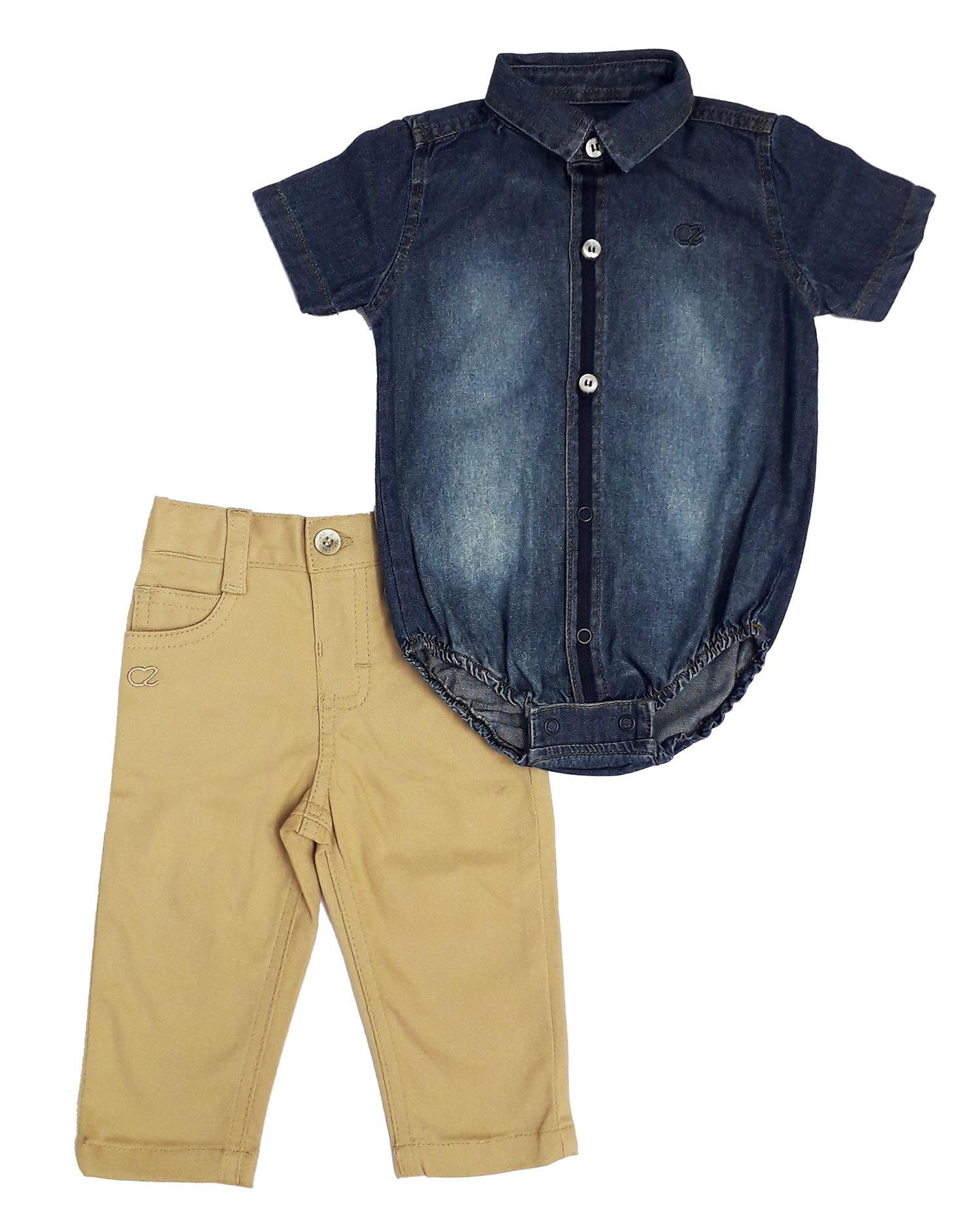 Conjunto Infantil Masculino Camisa Jeans e Calça Club Z