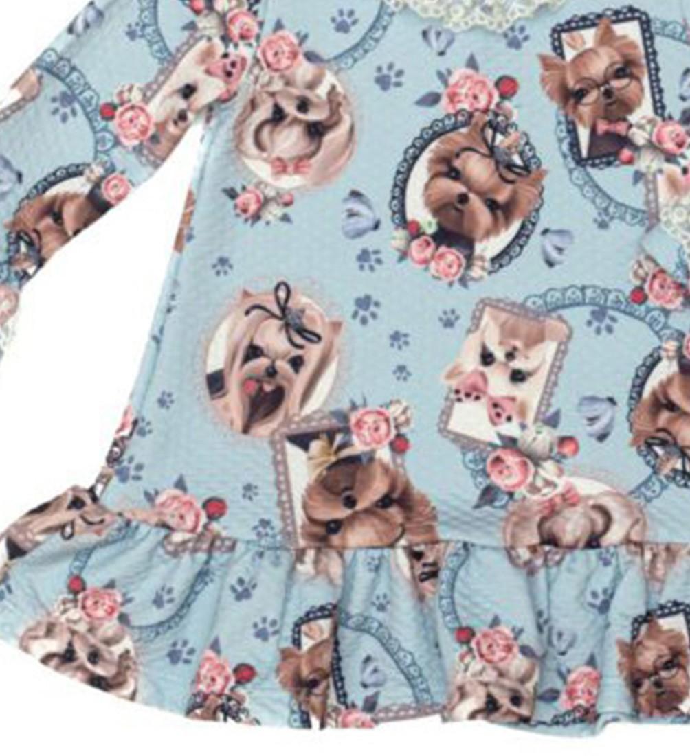 Vestido Festa Azul Estampa de Cachorrinhos Matinée