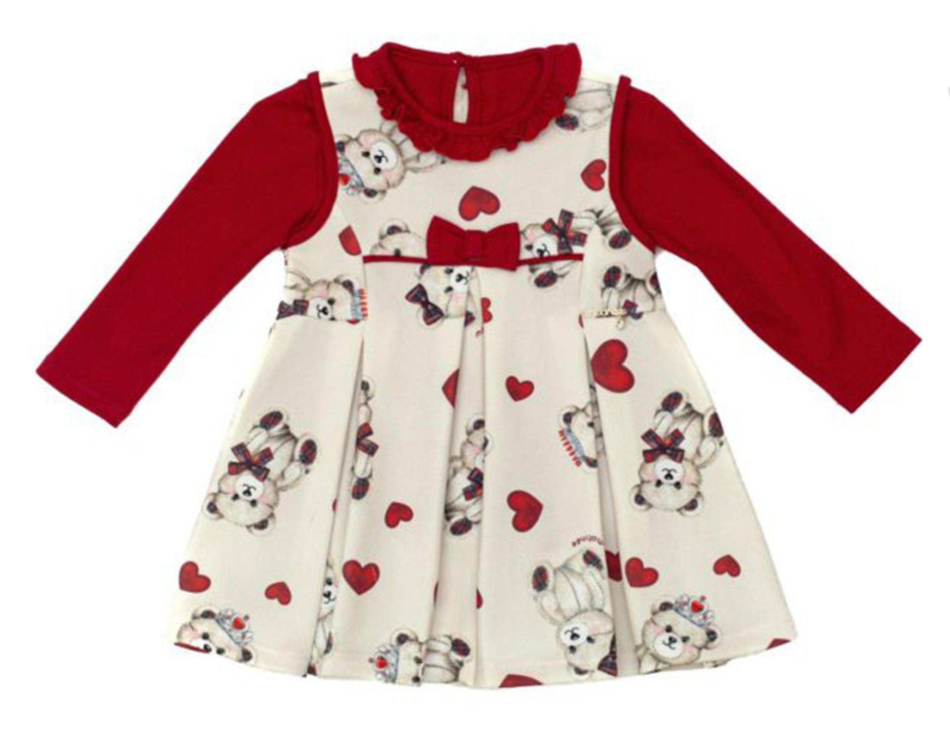 Vestido Festa Estampa Ursinhos e Corações Vermelhos Matinée