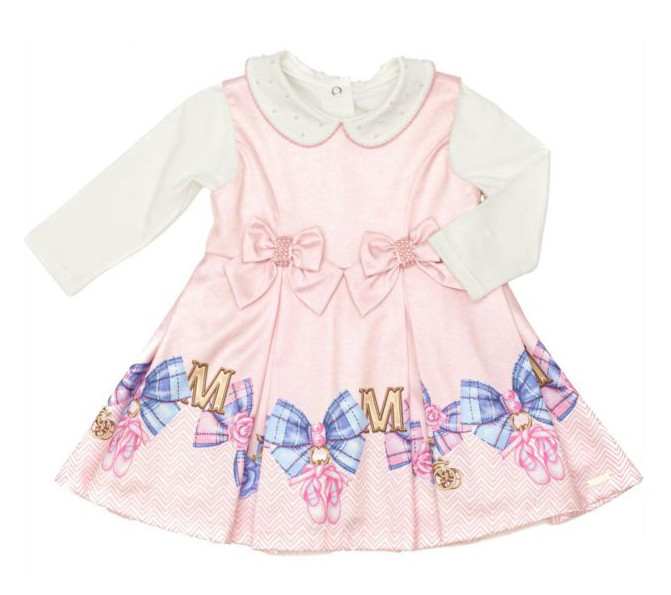 Vestido Feminino Infantil Manga Longa Rosa Matinée