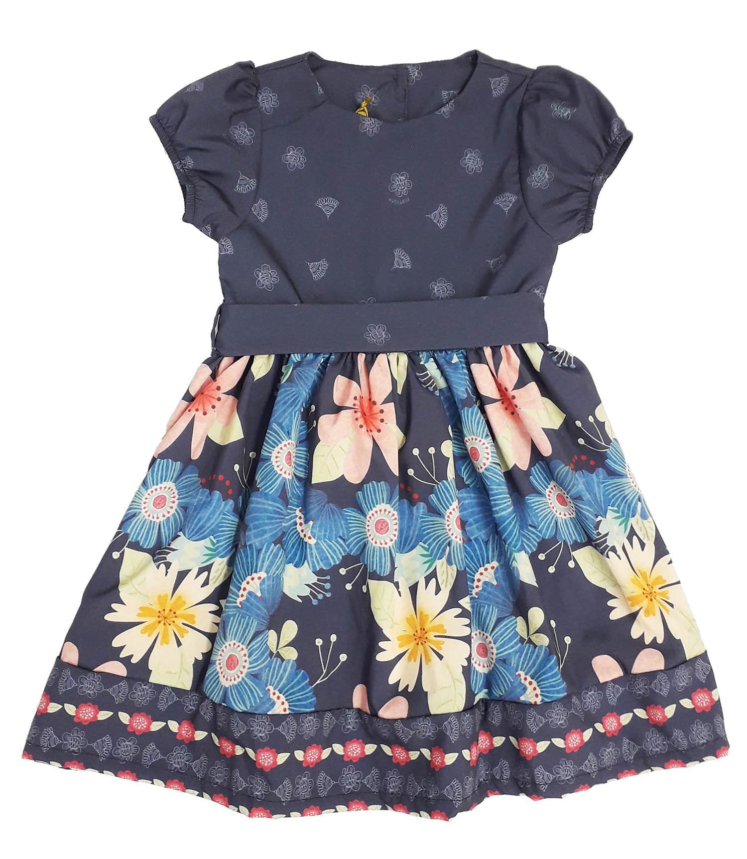 Vestido Infantil Estampado Floral Azul Matinée