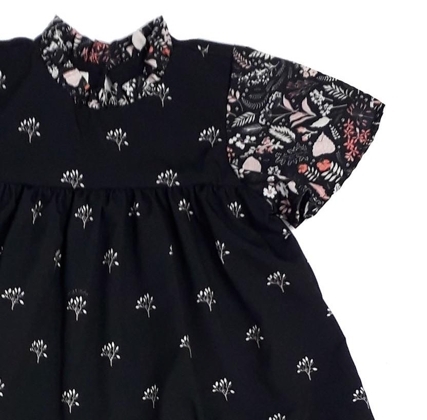 Vestido Infantil Estampado Floral Preto Matinée