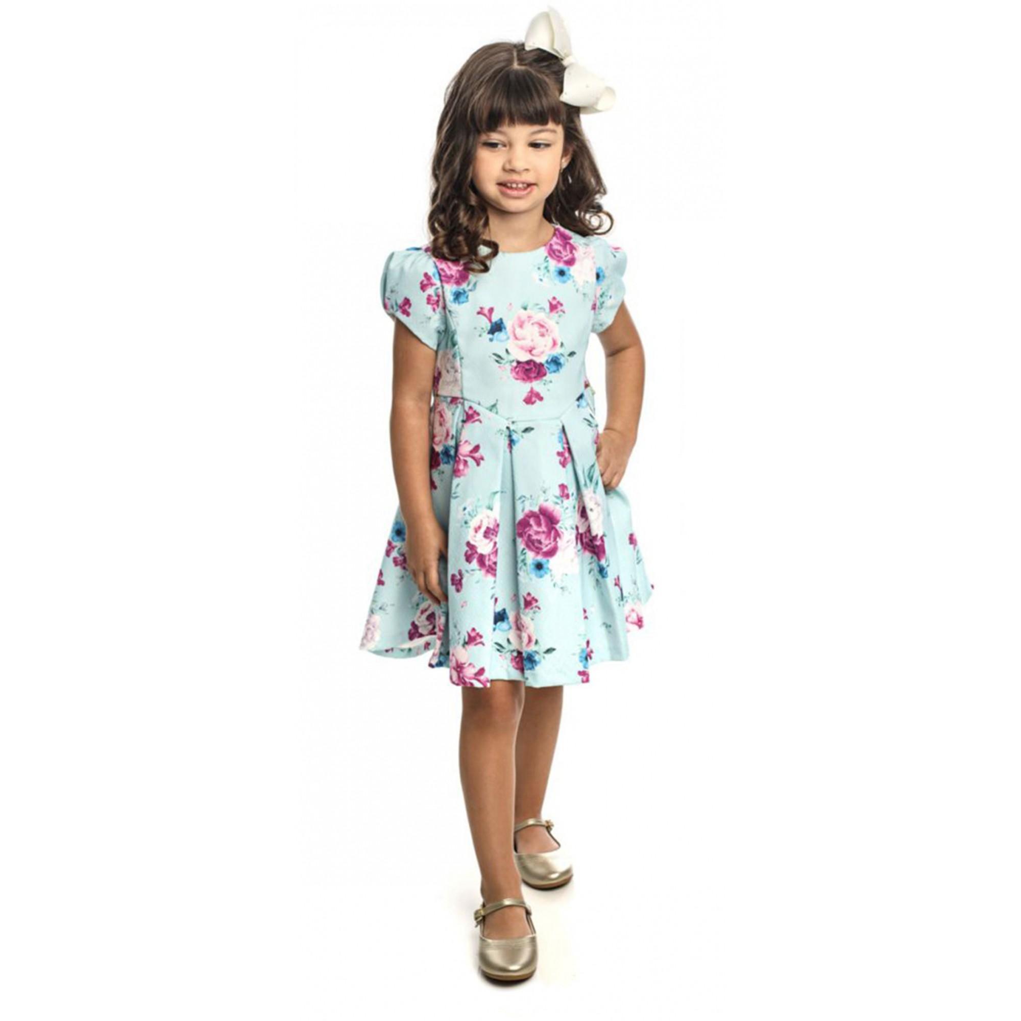 Vestido Infantil Feminino para Festa Estampado  Azul Matinée