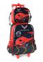 Mochila Infantil c/ Rodinhas e Lancheira Chevrolet Corvette - Preto / Vermelho
