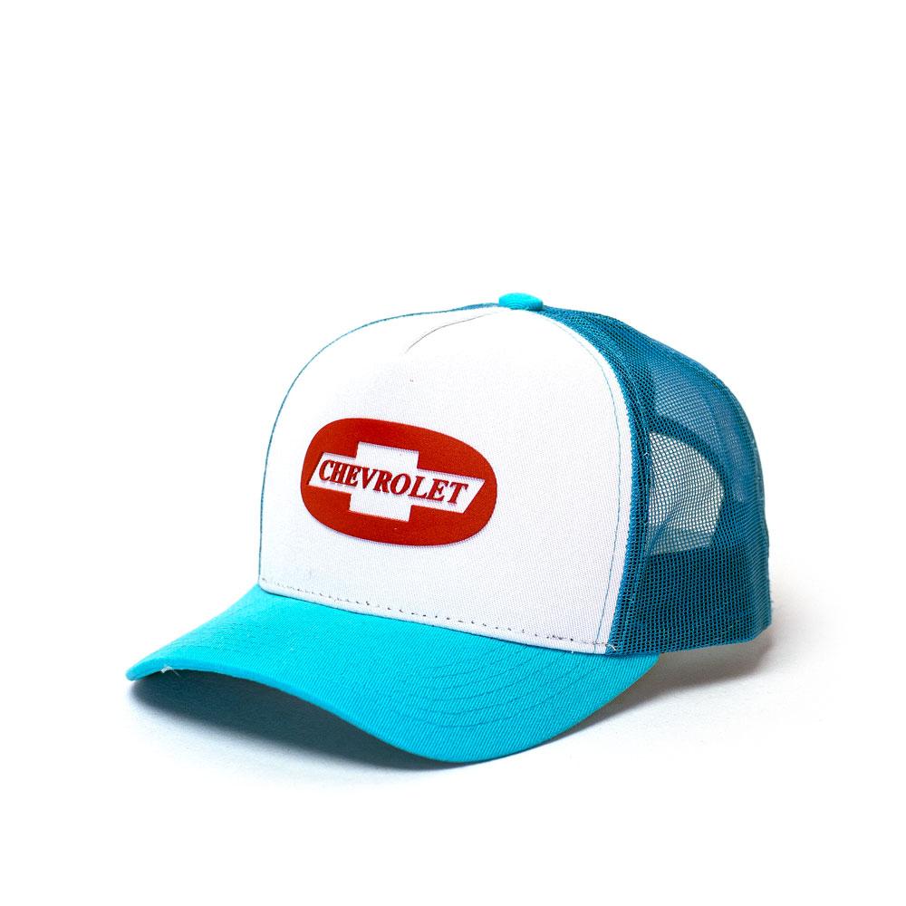 Boné Trucker Chevrolet Classics Badge - Azul Claro