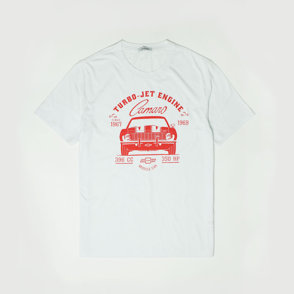 Camiseta Masc. Cavalera|Chevrolet Camaro Turbo Jet - Branca