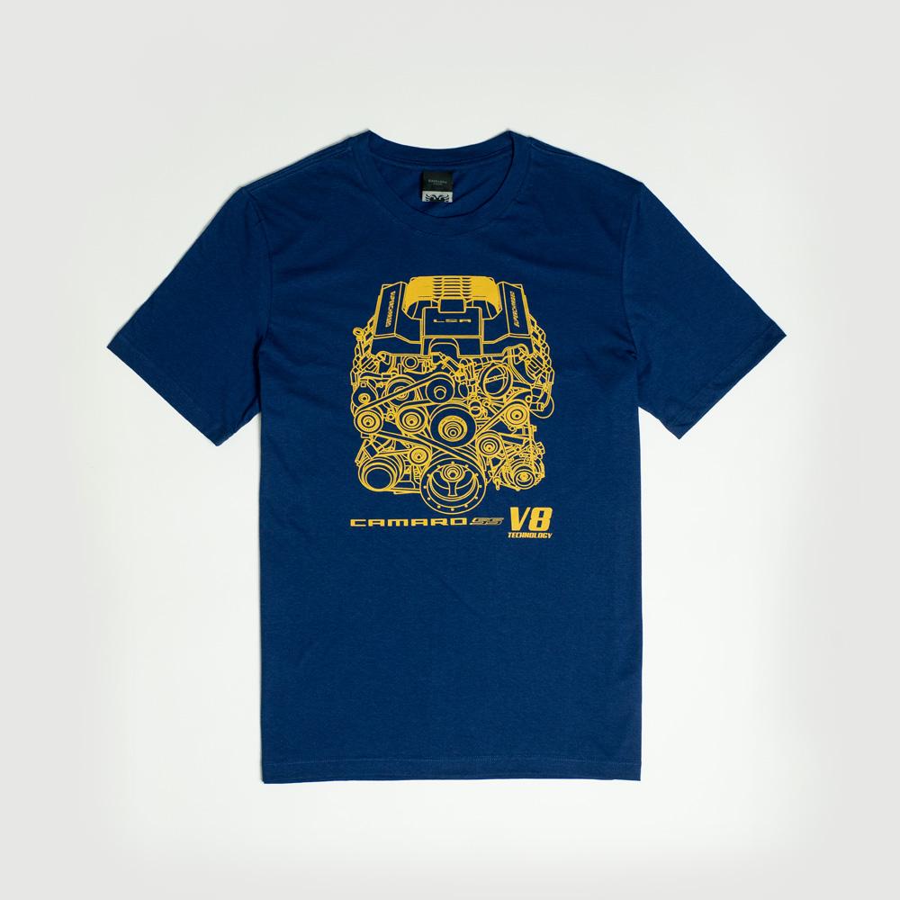 Camiseta Chevrolet|Cavalera Camaro Motor V8 - Azul Escuro