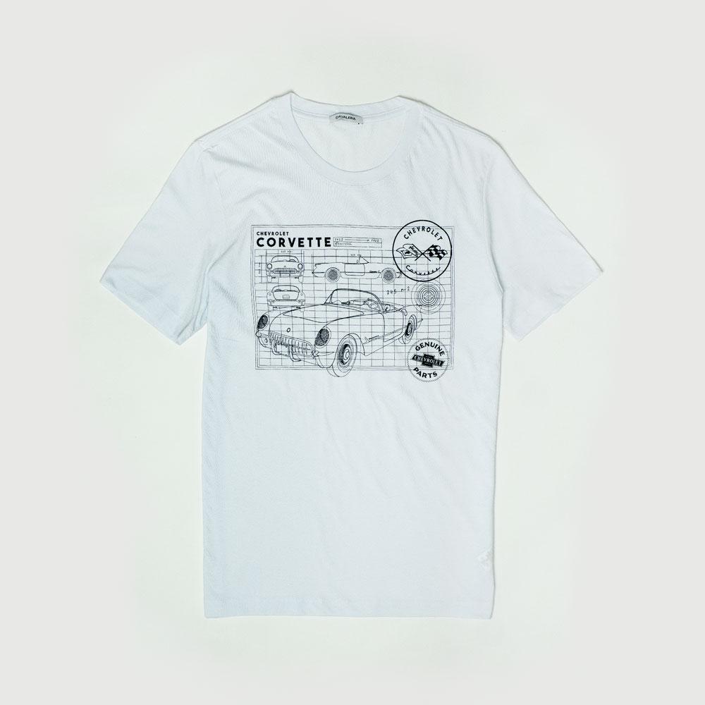 Camiseta Masc. Chevrolet Cavalera Corvette Grade - Branca