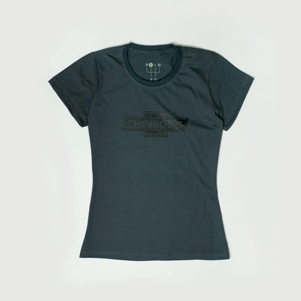 Camiseta Fem. Chevrolet Classics - Logo - Chumbo