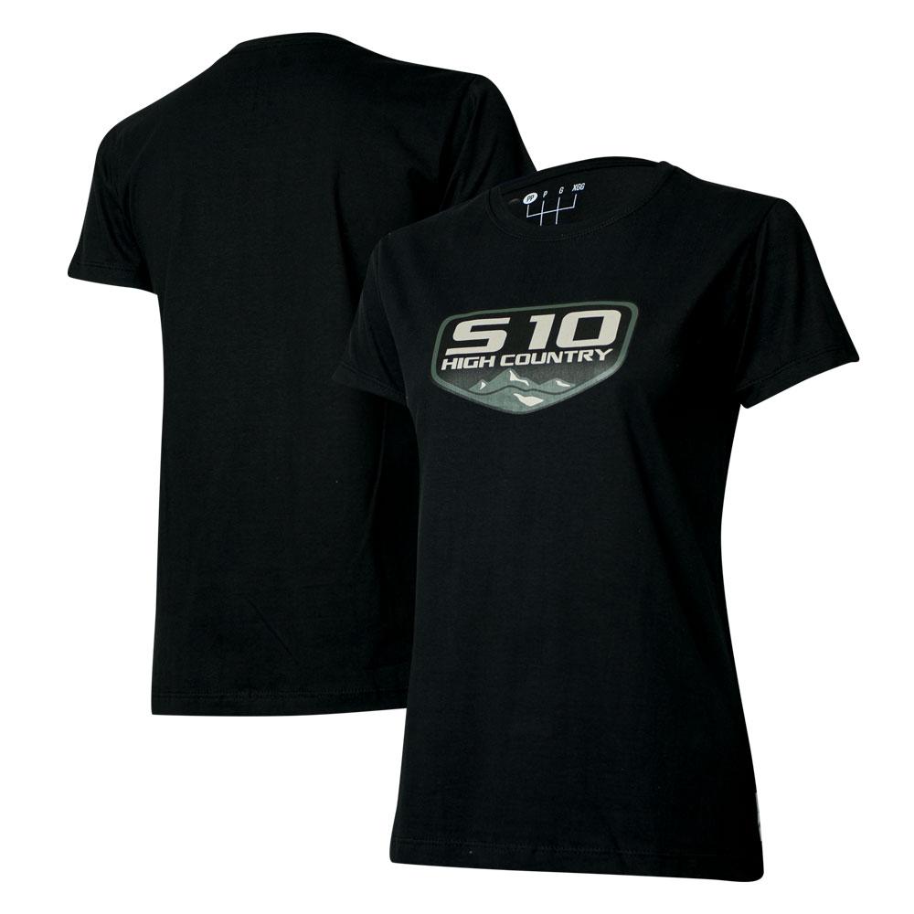 Camiseta Fem. Chevrolet S-10 Badge - Preta