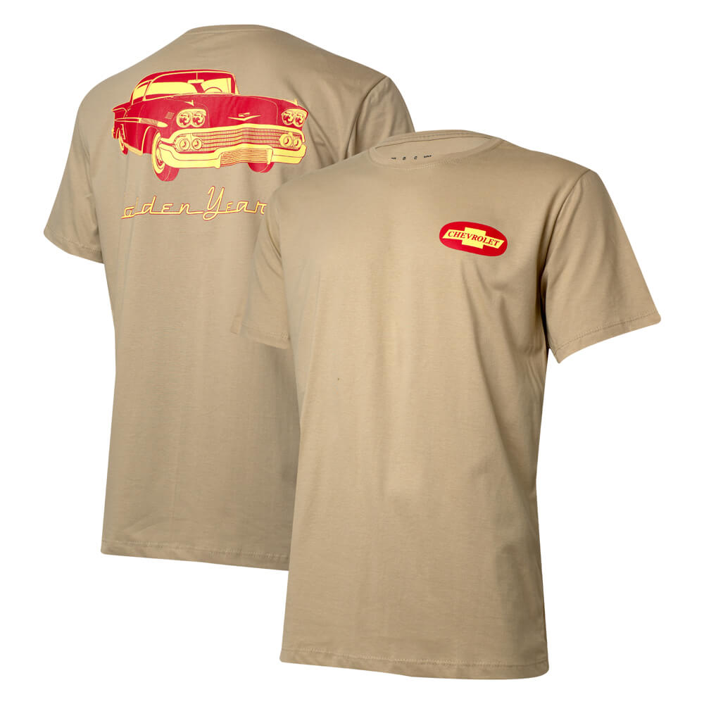 Camiseta Masc. Chevrolet Classics Golden Years - Marrom Claro