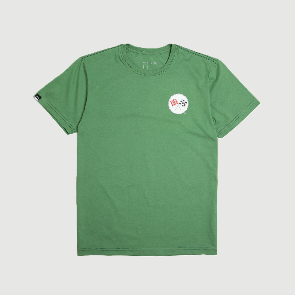 Camiseta Masc. DTG Chevrolet Corvette Badge - Verde Persa
