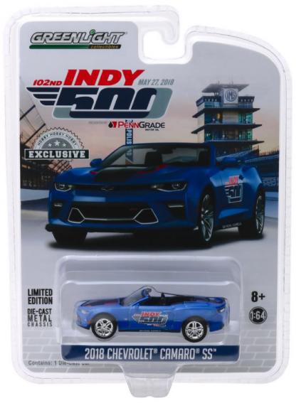 Miniatura Chevrolet Camaro SS Conversível INDY 500 2018 1:64 - Azul