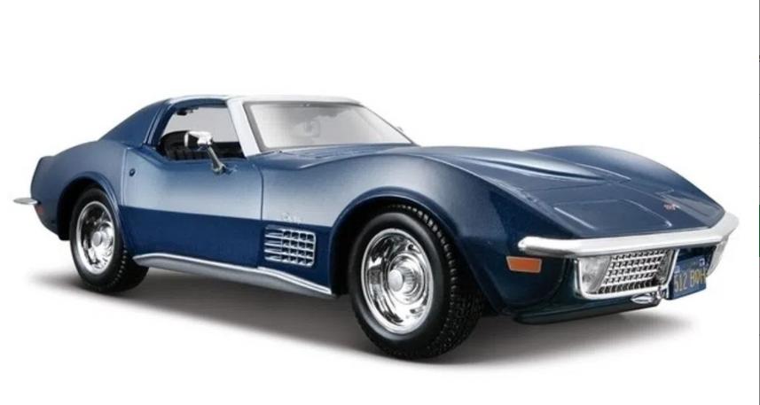 Miniatura Chevrolet Corvette 1970 1:24 - Azul