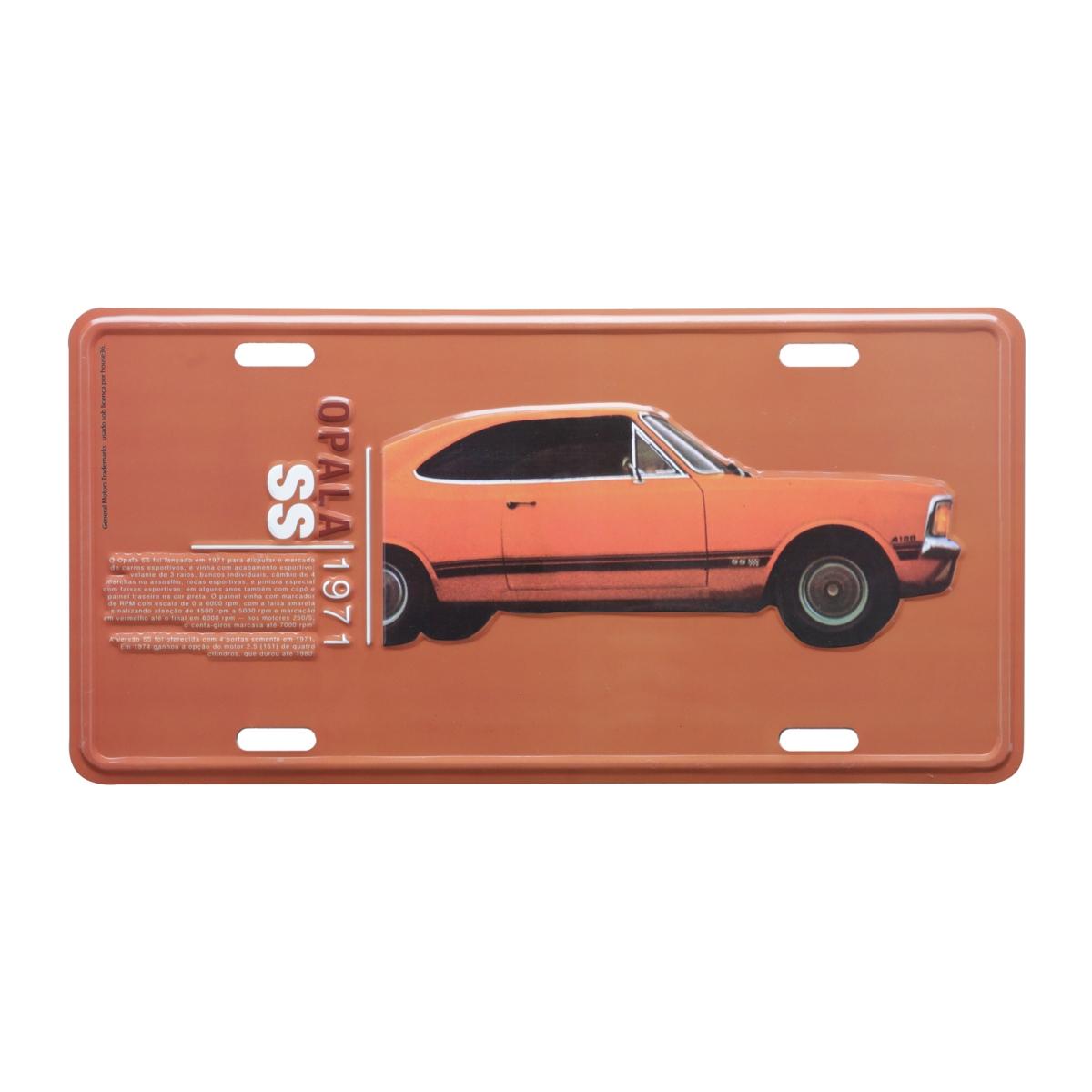 Placa de Alumínio Chevrolet - Opala 1971 - Laranja