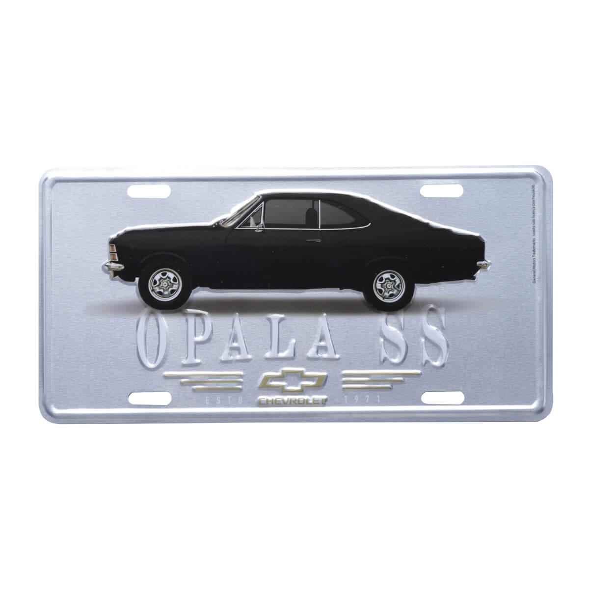 Placa de Alumínio Chevrolet - Opala 1971 - Prata / Preto