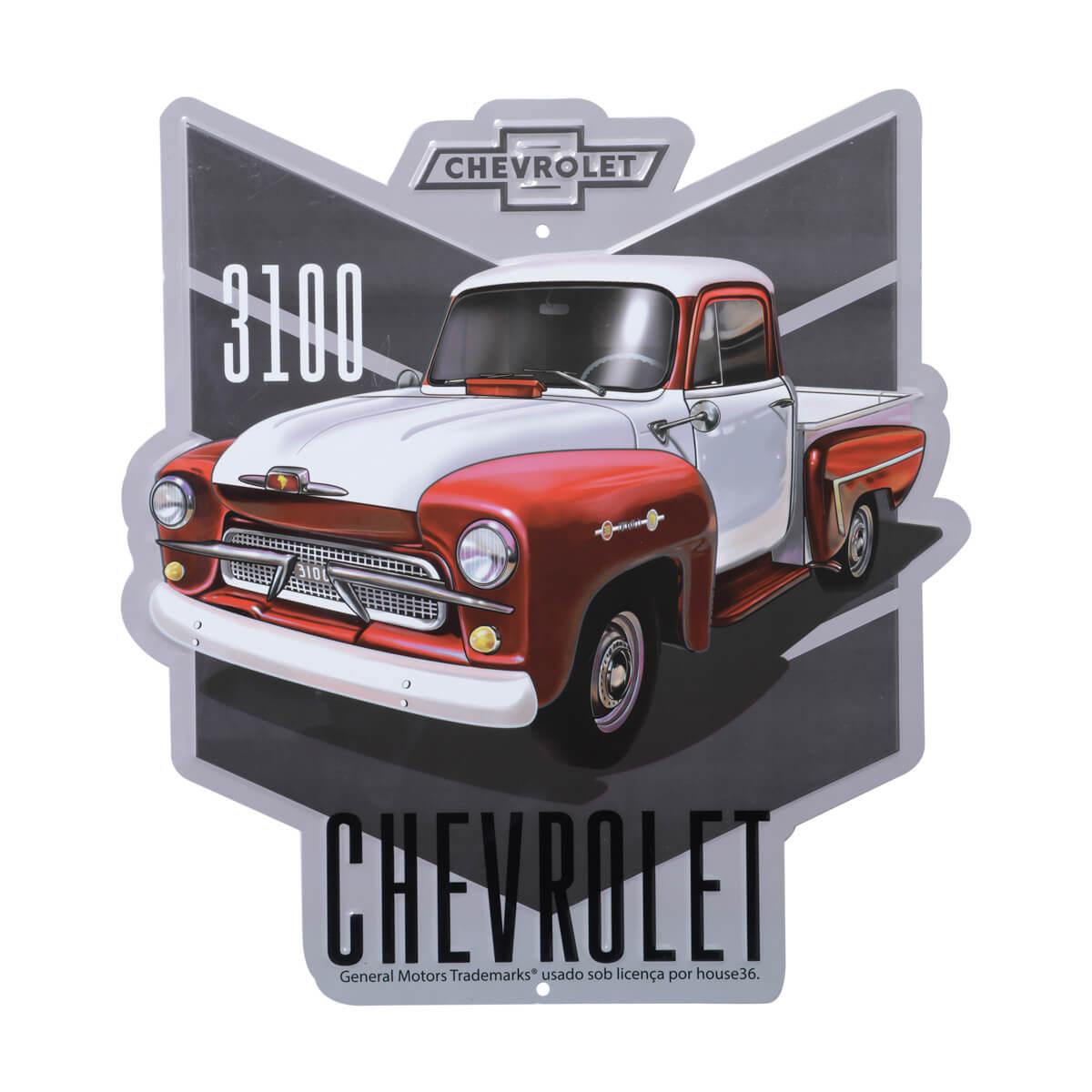 Placa de Alumínio com Recorte Chevrolet - Chevy 3100 - Vermelho / Branco
