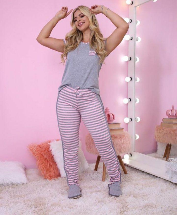 Pijama Mescla Rosa
