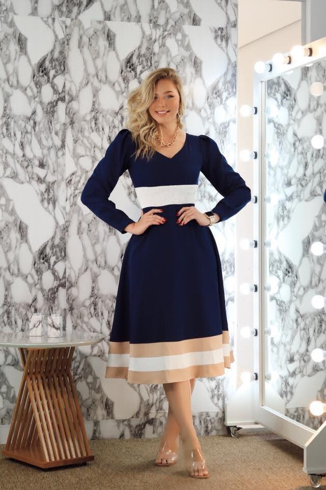 Vestido Byanca Azul Marinho