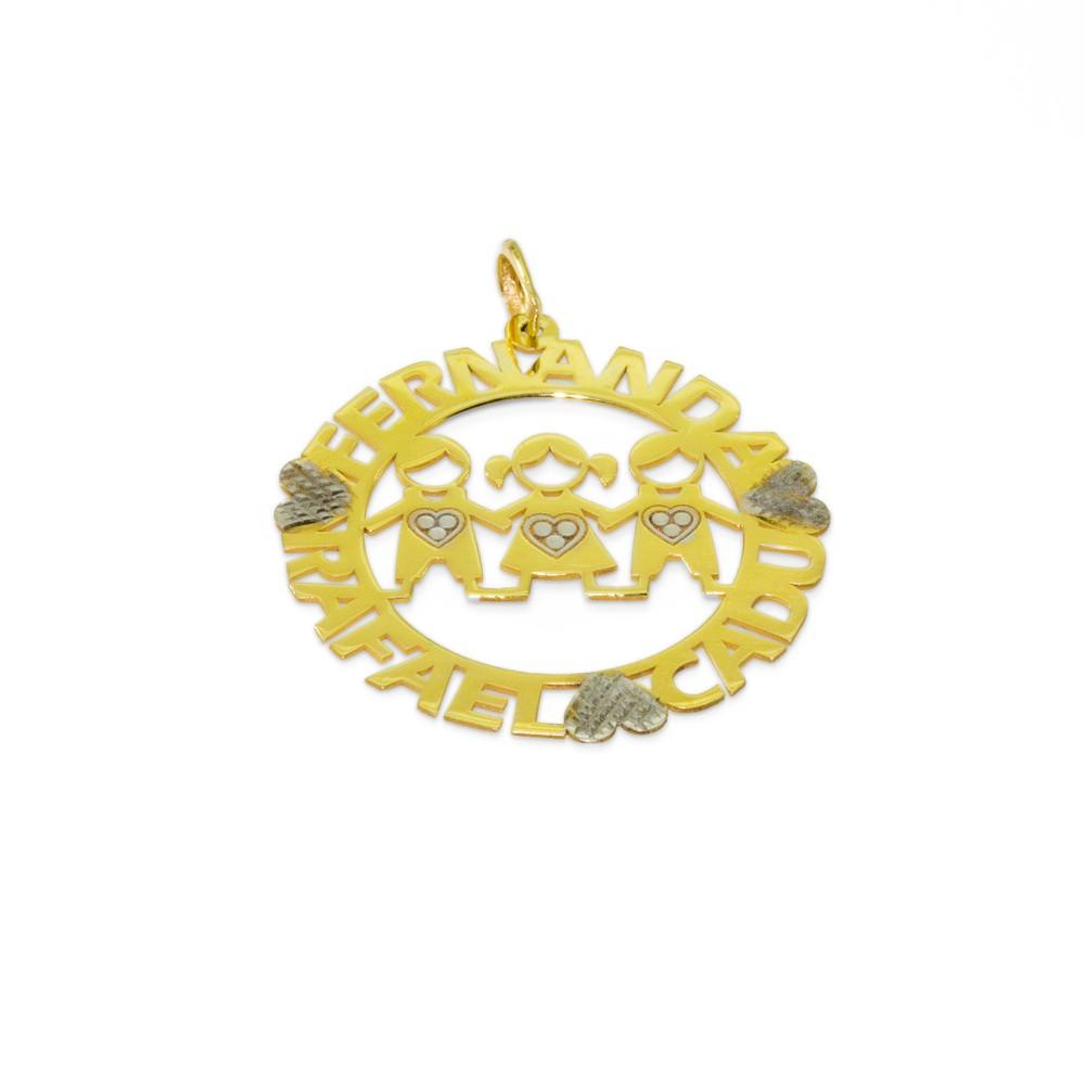 Pingente 03 Bonecos Personalizados Ouro 18k