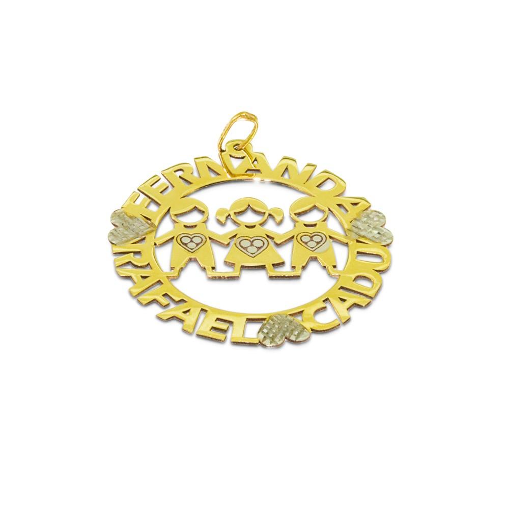 Pingente 03 Bonecos Personalizados Ouro 416