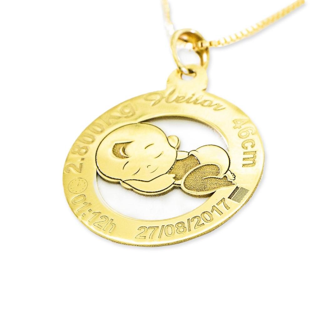 Pingente Dados de Nascimento Ouro 18k
