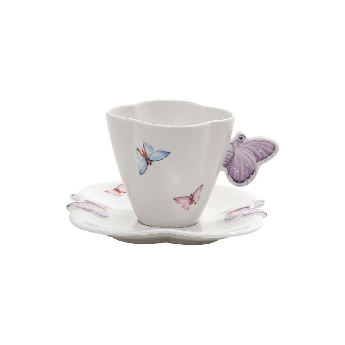 Conjunto com 6 xícaras de chá em Porcelana - Borboletas