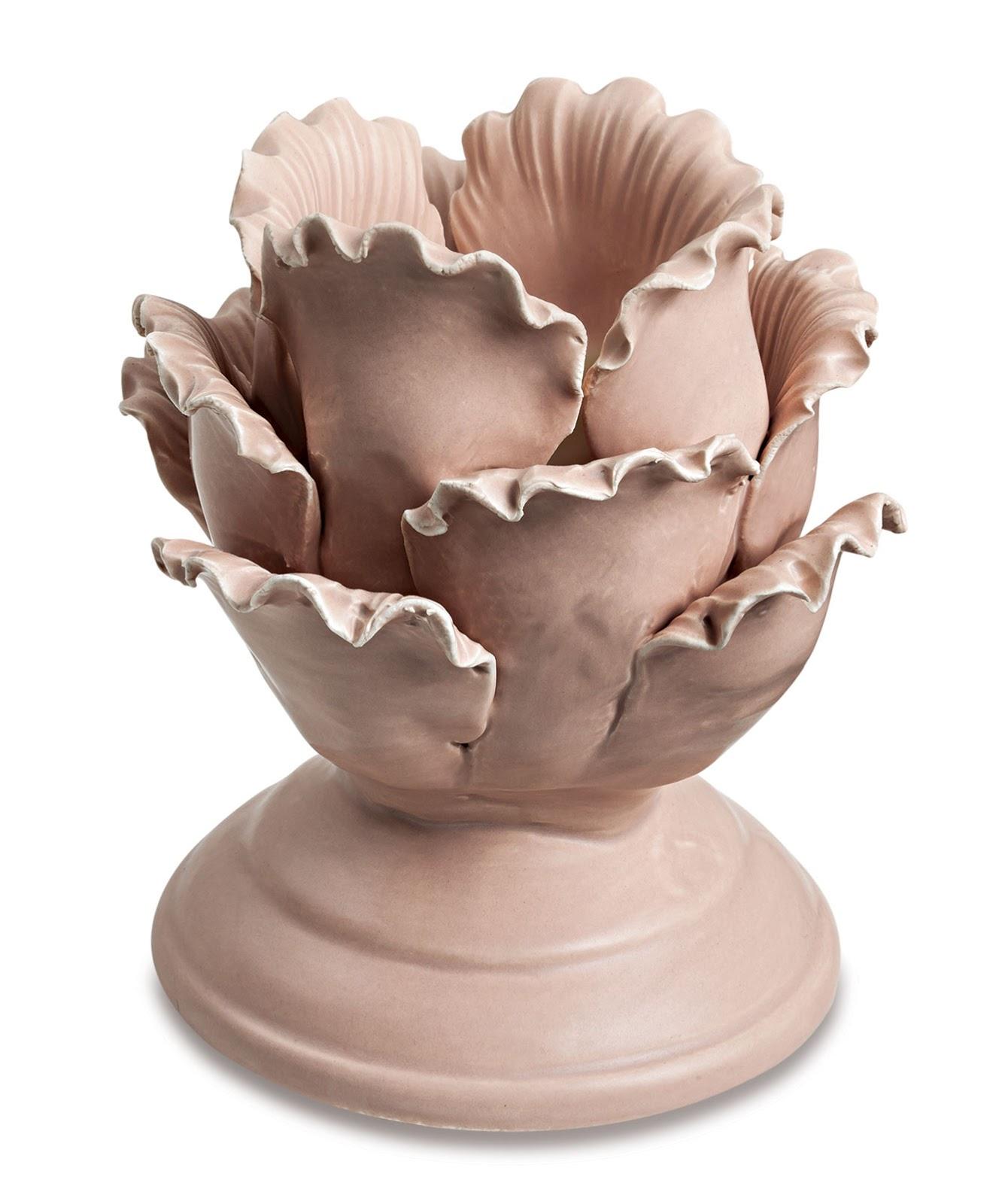 Porta Velas em Cerâmica - Flower Rosé