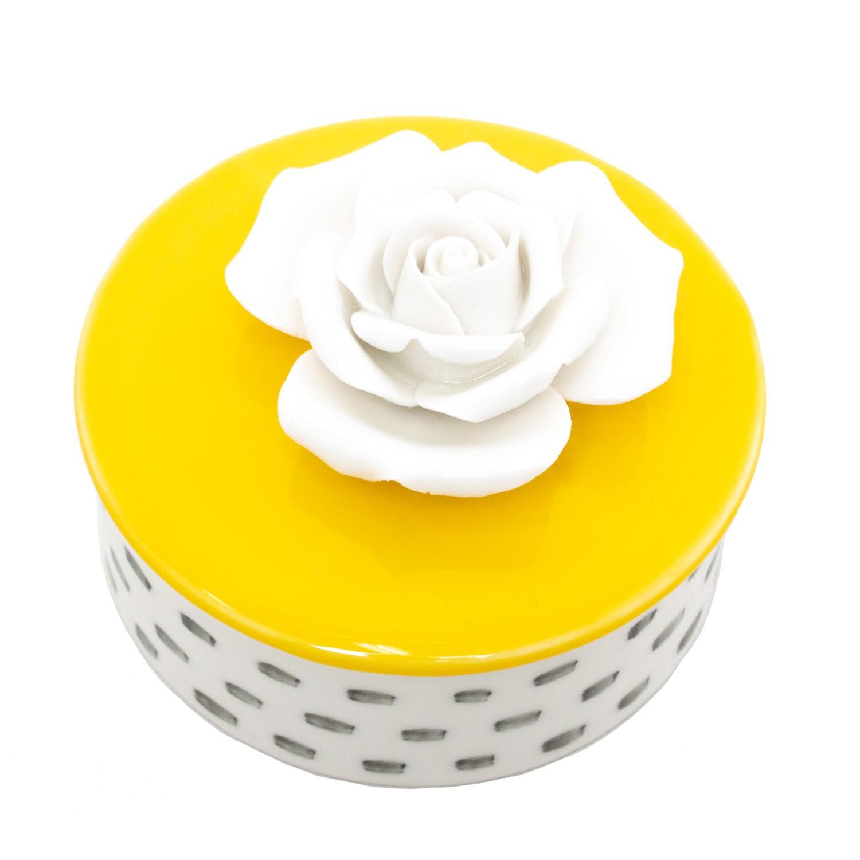 Potiche Decorativo - Branco e Amarelo