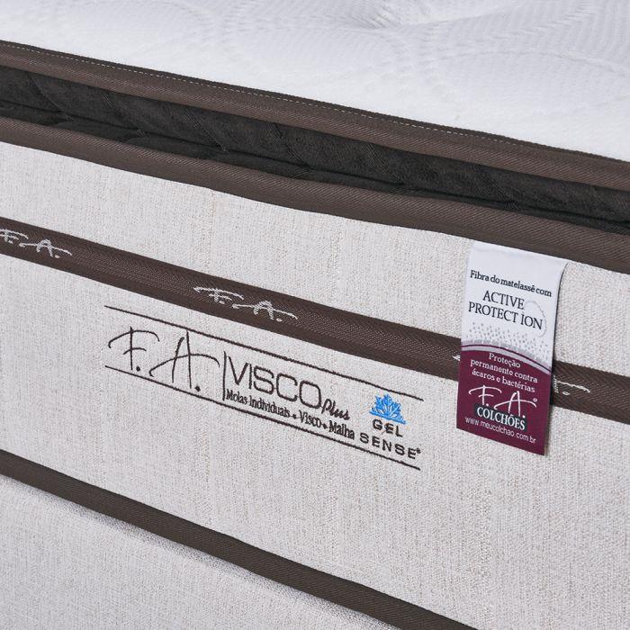 CONJUNTO: COLCHÃO MOLAS ENSACADAS FA GEL VISCO PLUS + BOX QUEEN 1,58X1,98