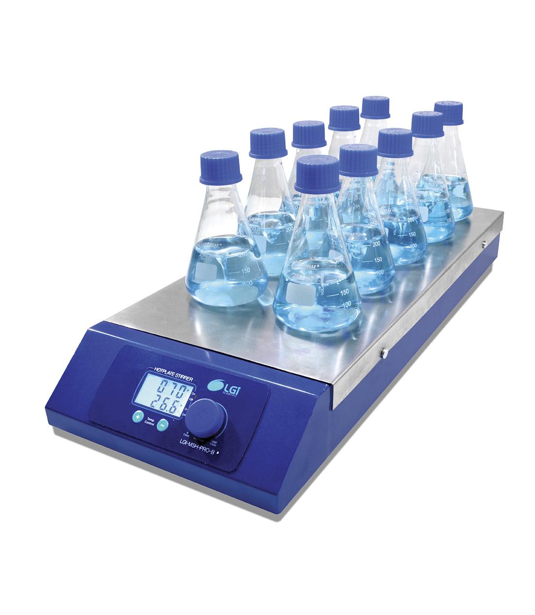 AGITADOR MAGNETICO MULTIPOSIÇÃO COM AQUECIMENTO 10 - LGI SCIENTIFIC - Cód. LGI-MSH-PRO-10B