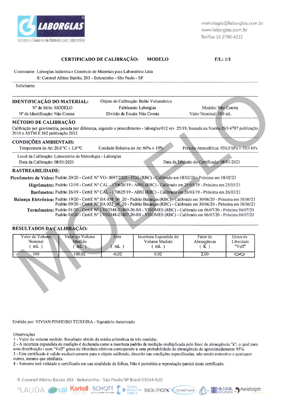 BALÃO VOLUMÉTRICO CLASSE A ROLHA POLI C/ CERTIFICADO RASTREÁVEL 20 ML - Marca Laborglas - Cód. 9167812-C