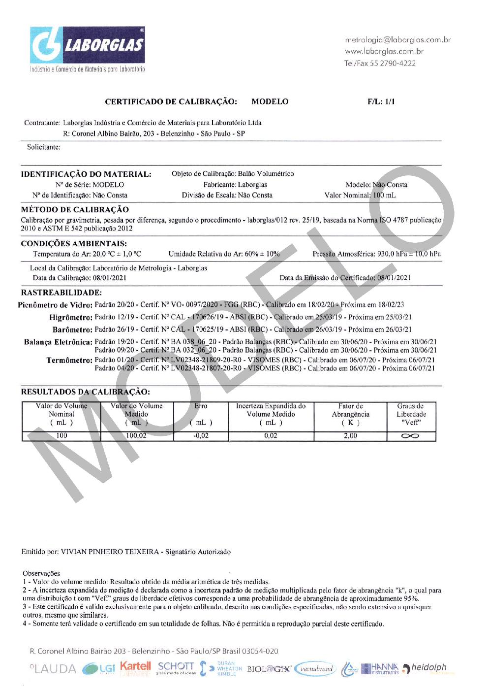 BALÃO VOLUMÉTRICO CLASSE A ROLHA POLI C/ CERTIFICADO RASTREÁVEL 50 ML - Marca Laborglas - Cód. 9167817-C