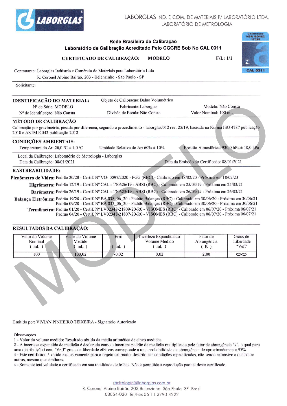 BALÃO VOLUMÉTRICO CLASSE A ROLHA POLI C/ CERTIFICADO RBC 20 ML - Marca Laborglas - Cód. 9167812-R
