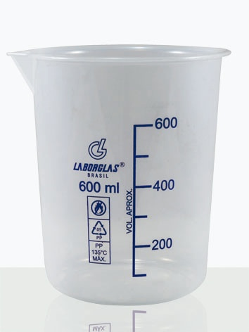Becker Forma Baixa Graduado em Polipropileno (PP) 600 mL - Laborglas - Cód. 9910648