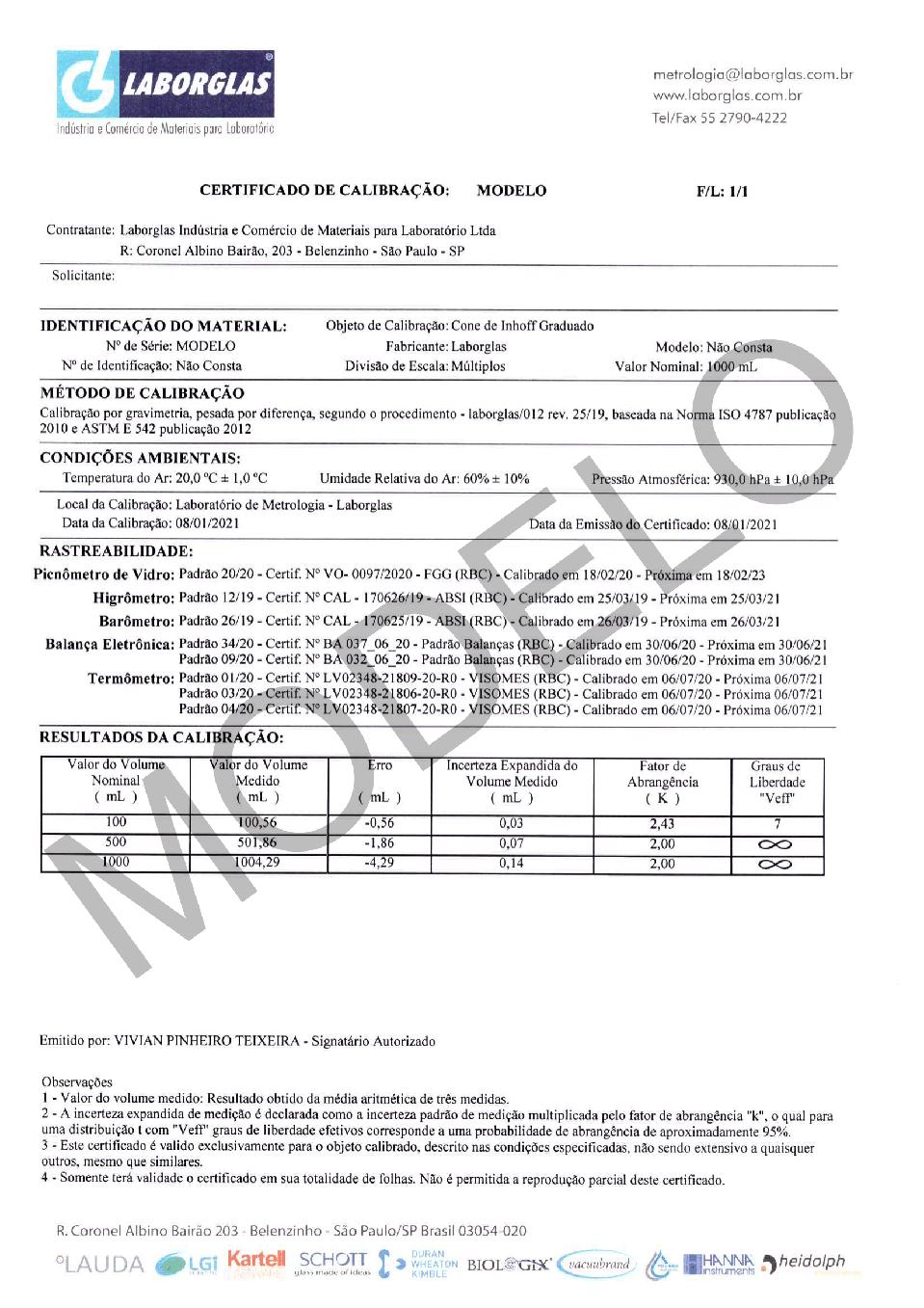 CONE DE INHOFF GRADUADO EM VIDRO COM CERTIFICADO RASTREÁVEL 1000 ML - Laborglas - Cód. 9140154-C