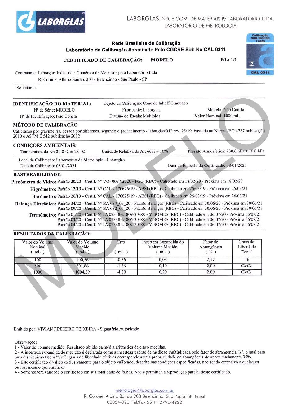 CONE DE INHOFF GRADUADO EM VIDRO COM CERTIFICADO RBC 1000 ML - Laborglas - Cód. 9140154-R