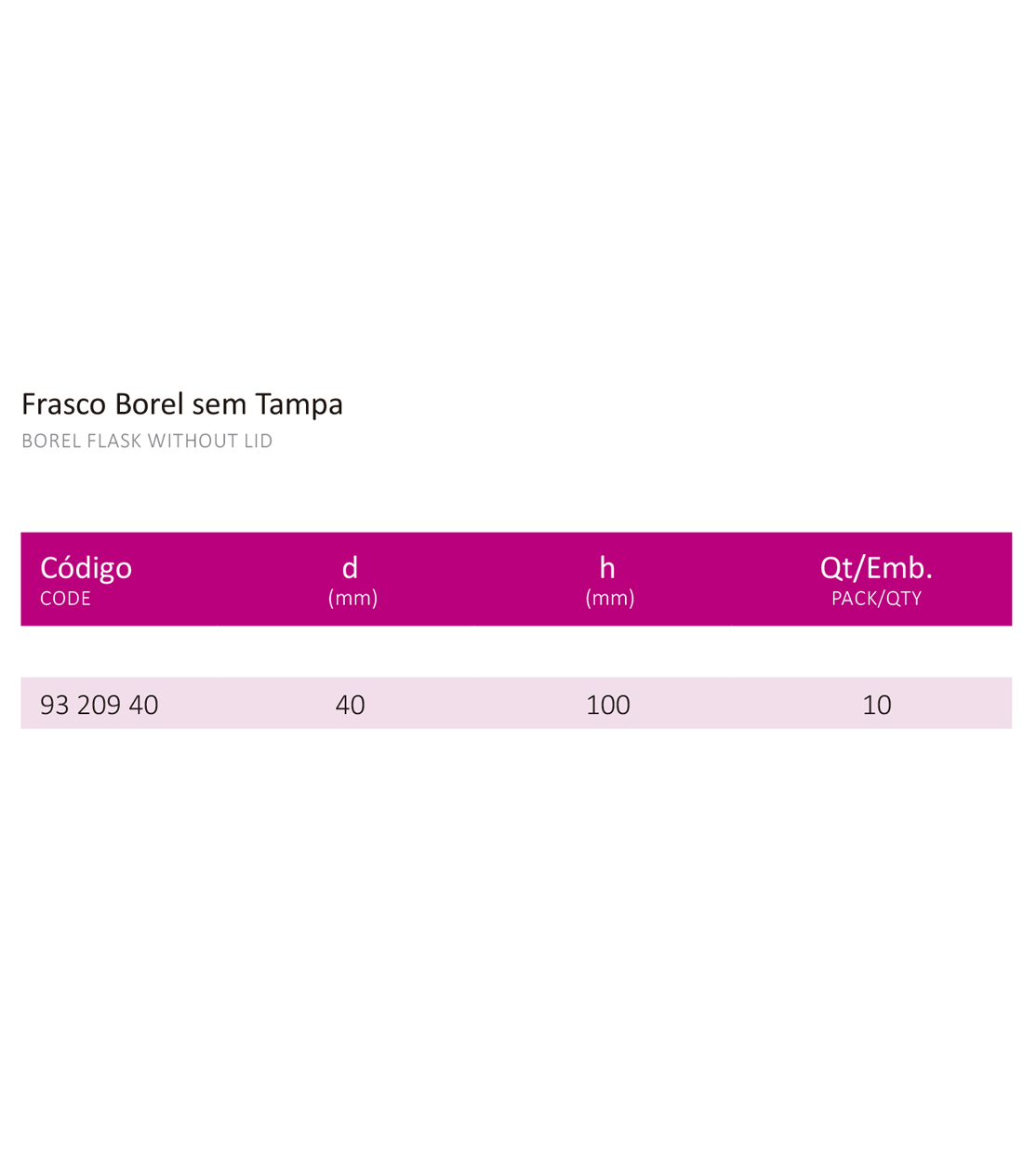 FRASCO BOREL SEM TAMPA 40 X 100 MM - Laborglas - Cód. 9320940