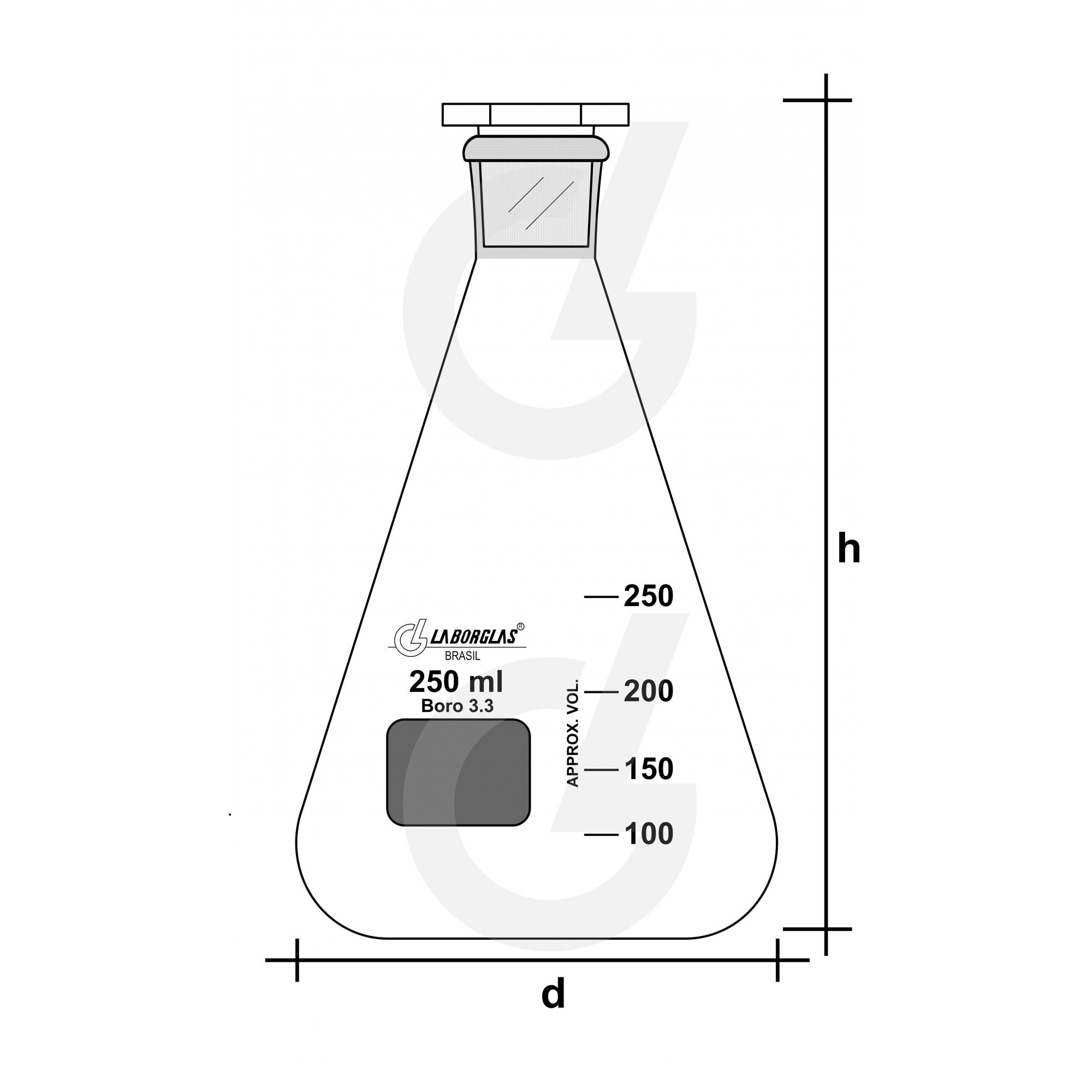 FRASCO ERLENMEYER C/ ROLHA VIDRO 250 ML - Laborglas - Cód. 91216393
