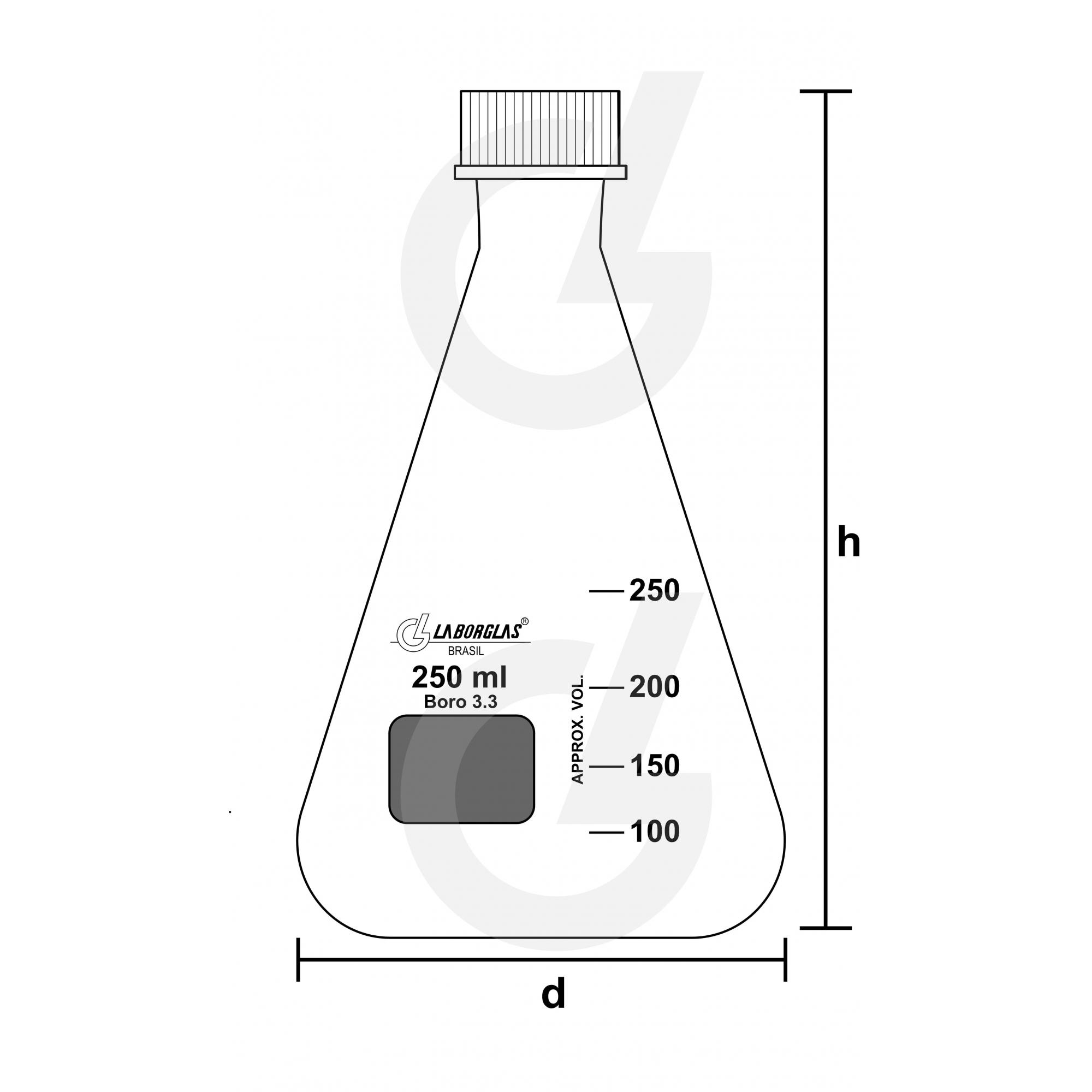 FRASCO ERLENMEYER C/ TAMPA DE ROSCA 100 ML - Laborglas - Cód. 91216284