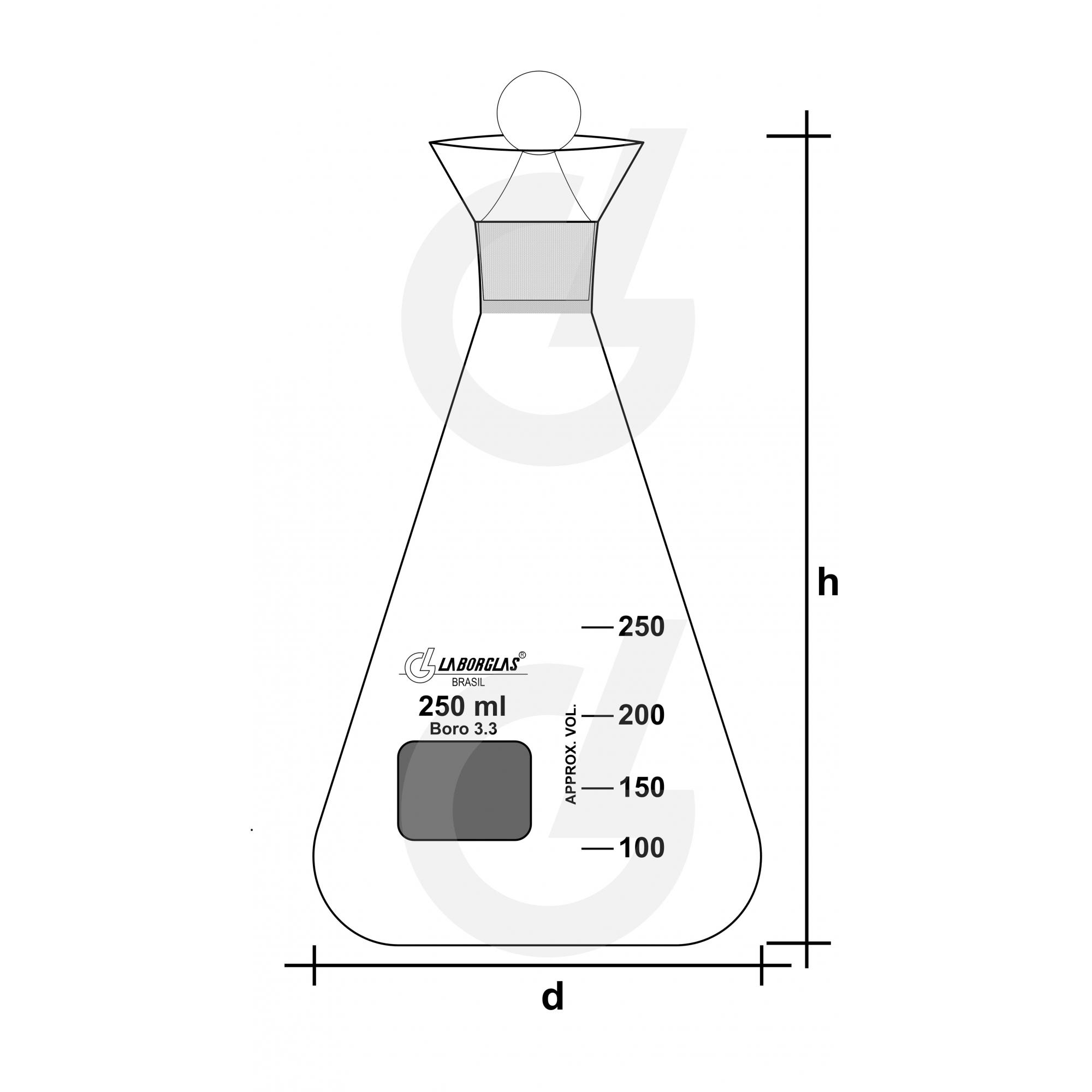 FRASCO INDICE DE IODO C/ ROLHA N.22 250 ML - Laborglas - Cód. 91216636