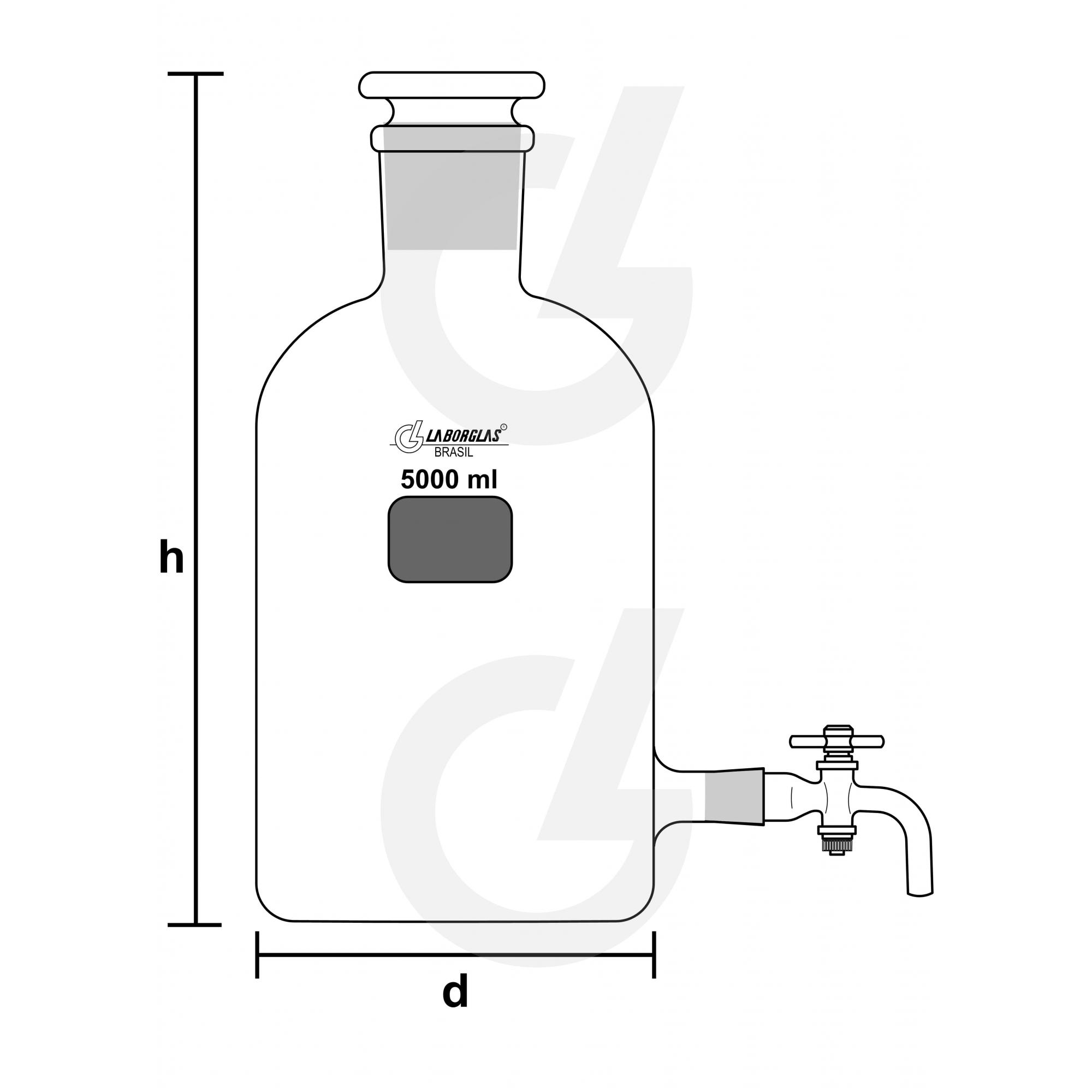 FRASCO MARIOTTE C/ TORN. PTFE 5000 ML - Laborglas - Cód. 9470373