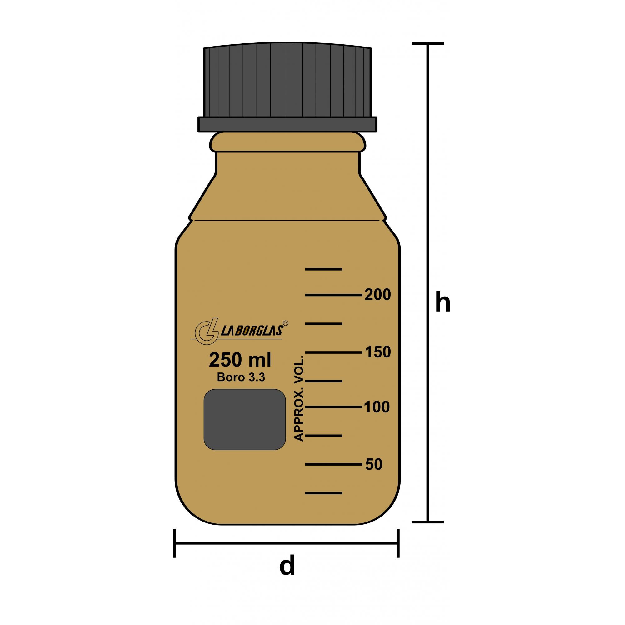 Frasco Reagente Âmbar com Rosca e Tampa GL 45 de 20000 mL - Laborglas - 91806915