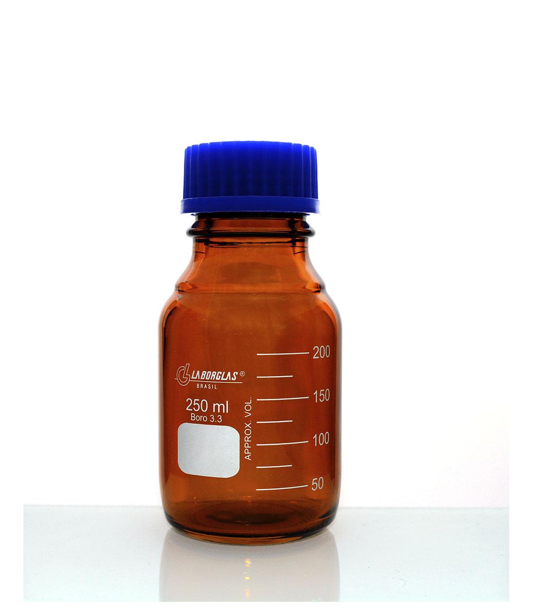 Frasco Reagente Âmbar com Rosca e Tampa GL 45 de 250 mL - Laborglas - 91806365