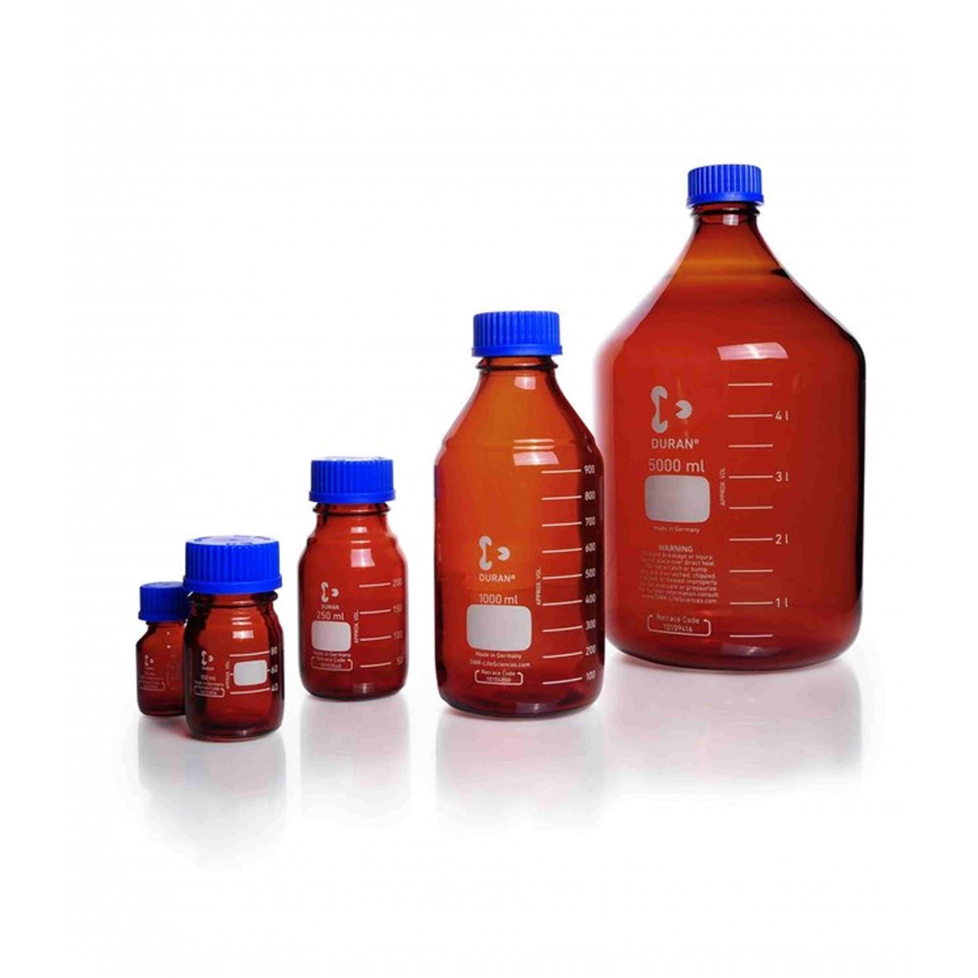 Frasco Reagente Âmbar Tampa Azul 3500 ml - Schott - Cód. 21806695