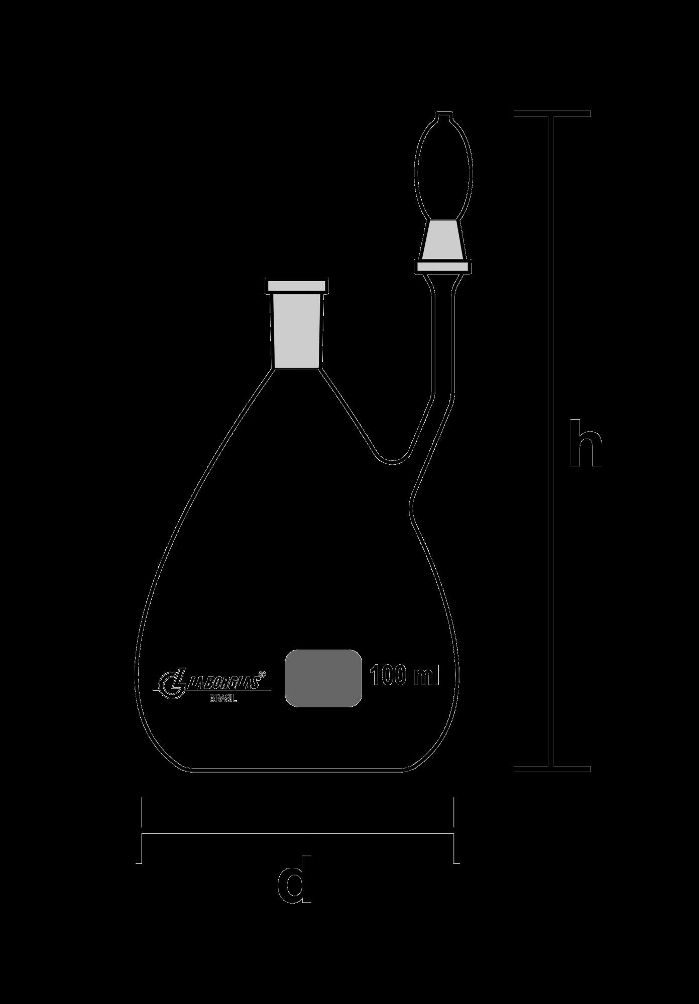 PICNÔMETRO GAY-LUSSAC COM SAÍDA LATERAL COM TERMÔMETRO 1000 ML E CERTIFICADO RASTREÁVEL - Laborglas - Cód. 9491254-C